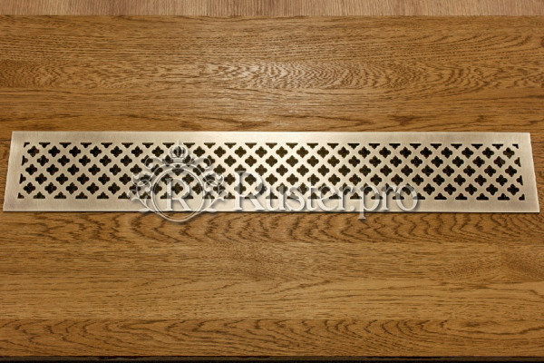 Решетка в подоконник из латуни с затертостью