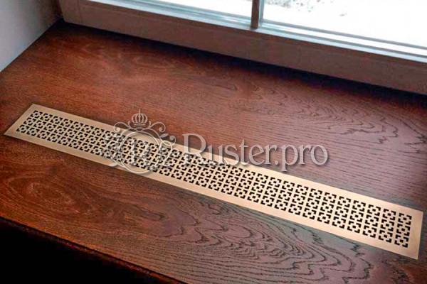 Латунная решетка в подоконник с орнаментом Соединенные квадраты