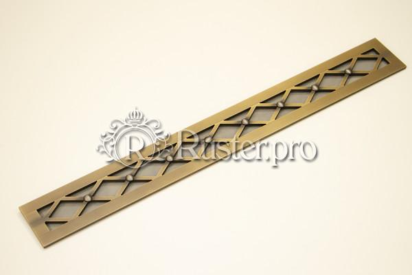 Латунная решетка со старением в столешницу из темного дерева