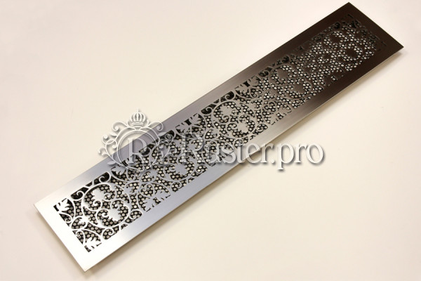 Декоративная решетка из шлифованной нержавейки с орнаментом Листья дуба