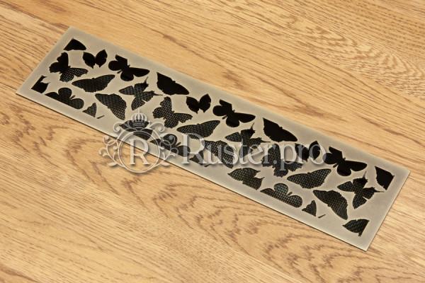 Решетка из состаренной латуни с орнаментом Бабочки