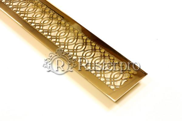 Решетка из полированной латуни под золото с орнаментом
