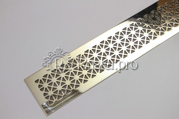 Латунная решетка для встраивания в подоконник с орнаментом Треугольники