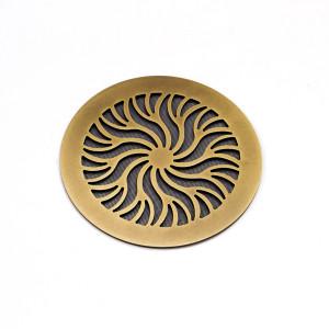 Круглая состаренная латунь с орнаментом Лучи солнца